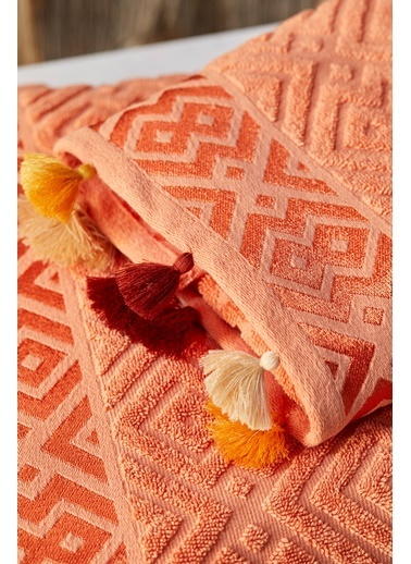 Bella Maison %100 Pamuk Mosaic Somon Banyo Havlusu (90x150cm) Somon